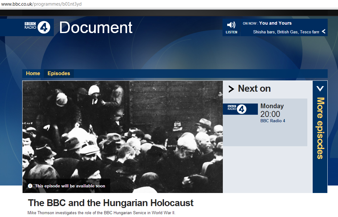 """Upcoming Radio 4 programme on """"The BBC and the Hungarian Holocaust"""""""