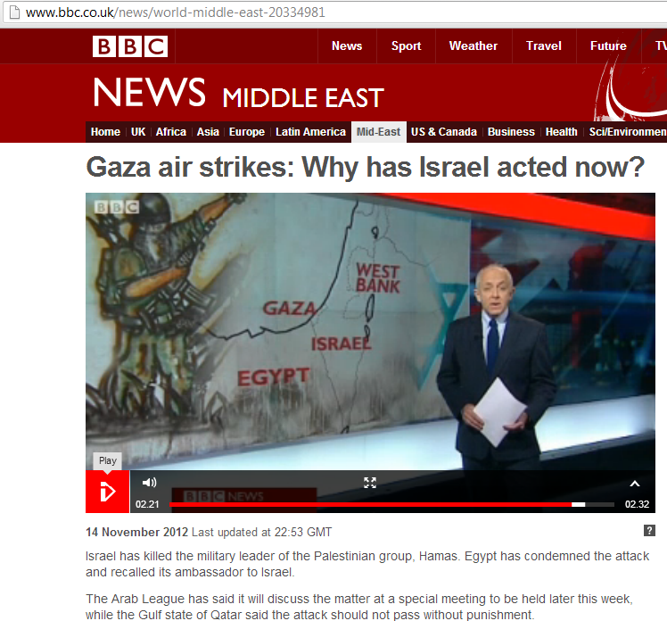 "BBC's Jeremy Bowen: ""a deliberate escalation by Israel"""