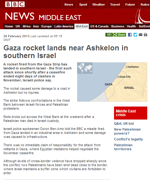 BBC report on renewed rocket fire from Gaza Strip