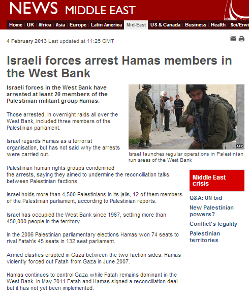 Context-free reporting of Hamas arrests from the BBC