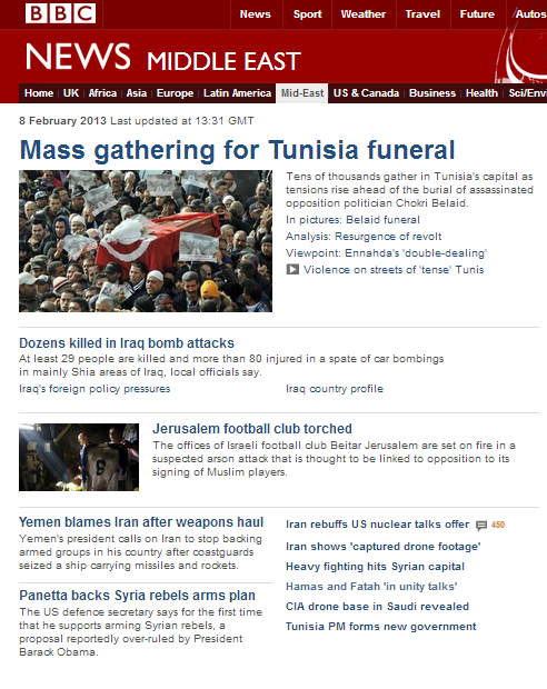 Strange priorities on the BBC website's Middle East page