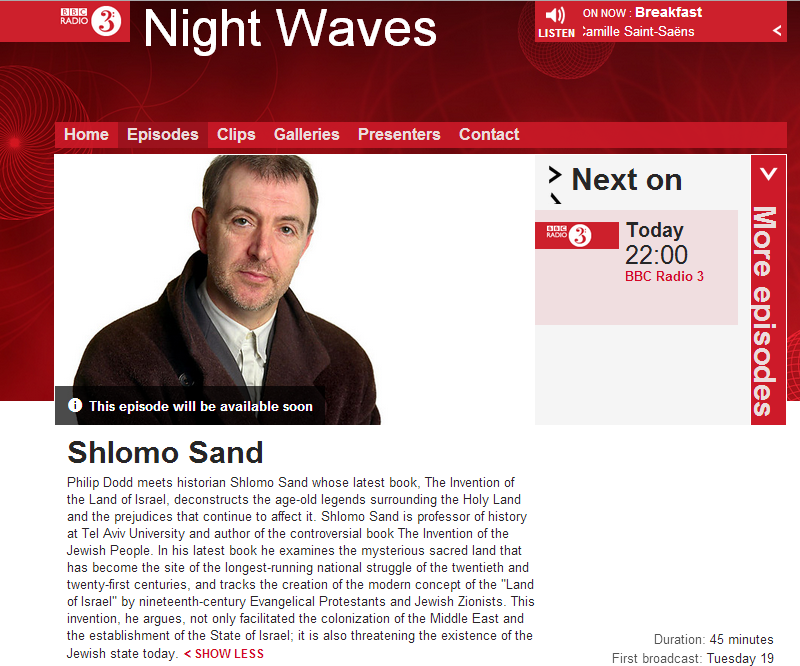 BBC Radio 3 to host Shlomo Sand