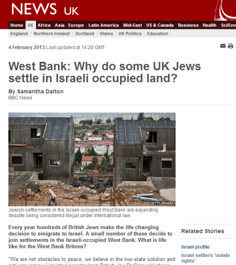 UK Jews 'ocupied land'
