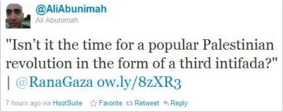 Abunimah tweet 3rd intifada