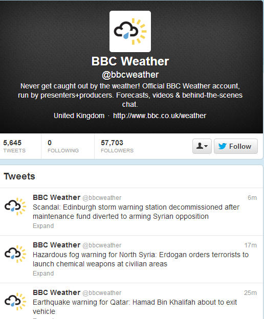 Selective BBC reporting on hacking of its own Twitter account