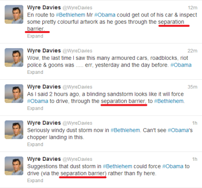 Davies 'separation barrier' tweets