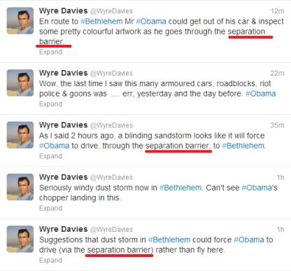 Davies 'separation barrier' tweets
