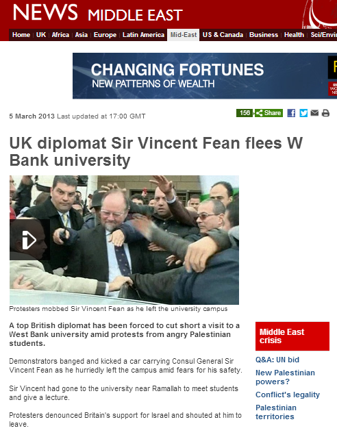 Diplomat hounded out of university: this time, the BBC reports