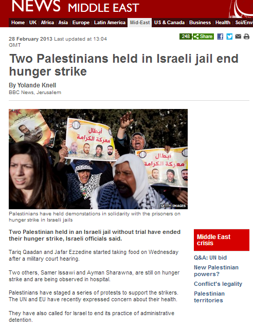 BBC continues to conceal terror connections of Palestinian hunger strikers