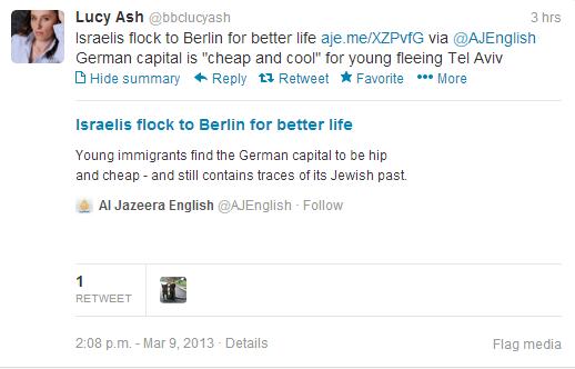 "BBC's Lucy Ash claims Israelis ""fleeing"" Tel Aviv"