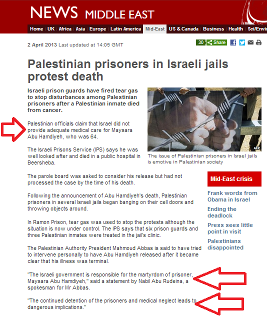BBC again blindly repeats PA accusations regarding dead prisoner