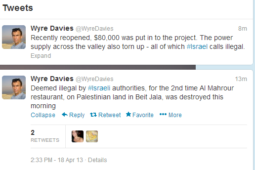BBC's Wyre Davies Tweeting for illegal building