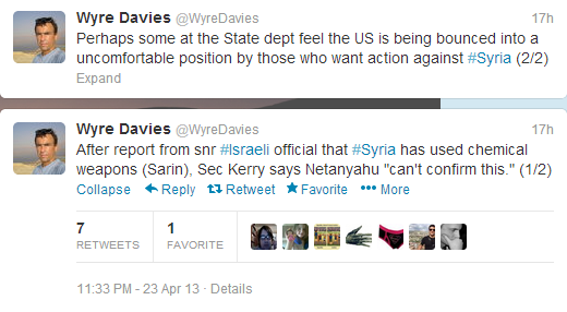 Davies tweets Syria Sarin