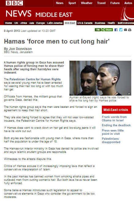 Donnison absolves Hamas of responsibility for hair cut crackdown