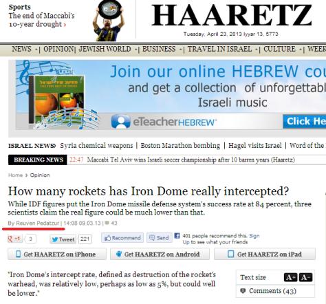 Haaretz iron Dome article