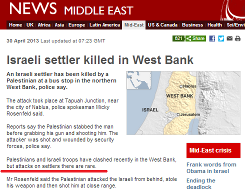 "BBC claims attacks on Israelis in Judea & Samaria are ""rare"""