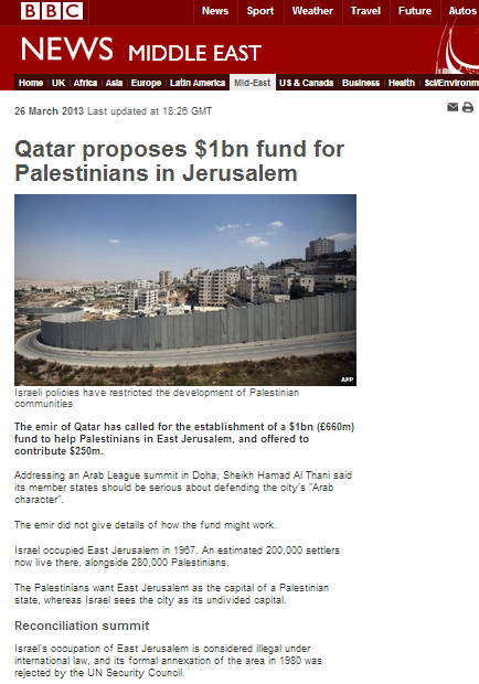 BBC advances political propaganda on Jerusalem