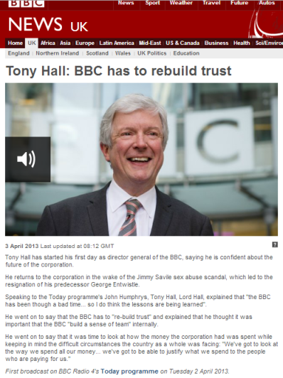 Tony Hall interview Today programme