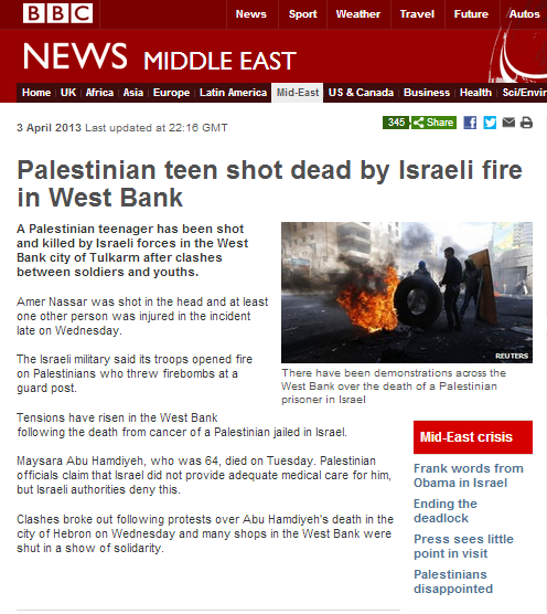 "BBC describes firebombing of checkpoint as ""protests"""