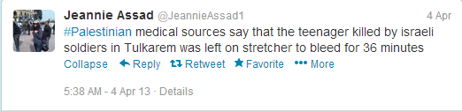 Tweet 'Palestinian med sources'