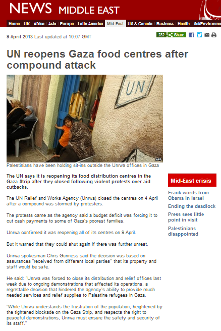 BBC promotes UNRWA lie