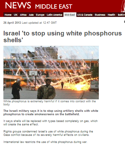 BBC exhumes old white phosphorus canard