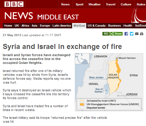 BBC report on shootings in Golan parrots Assad propaganda