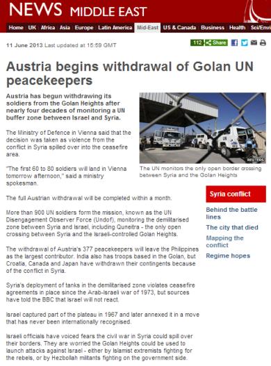 Austria UNDOF withdrawal