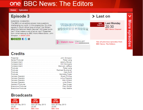 BBC 1 The Editors