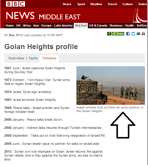 Photo caption on BBC Golan Heights profile page corrected