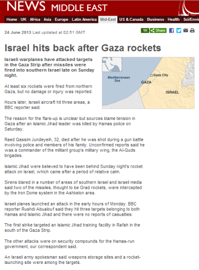 Gaza missiles Sun night