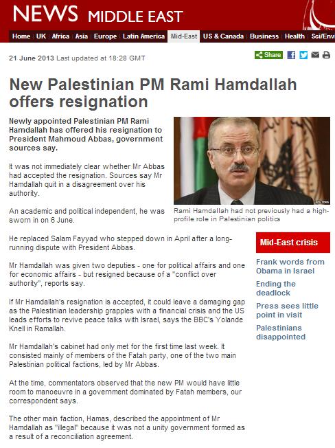 BBC reporting on the Hamdallah resignation