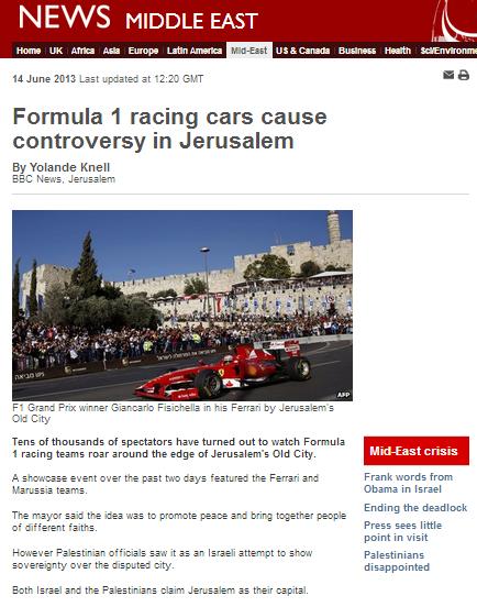BBC's Knell uses F1 to amplify PA propaganda on Jerusalem