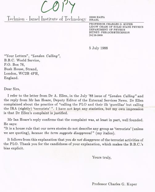 Letter Prof Kuper