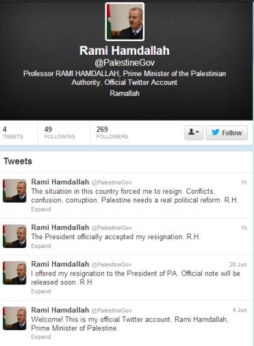 Twitter Rami Hamdallah