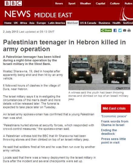 Hebron Palestinian dies