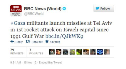 Tweet BBC world news Tel Aviv
