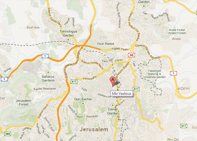 map Mir Yeshiva