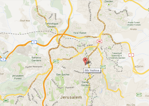 map Mir Yeshiva