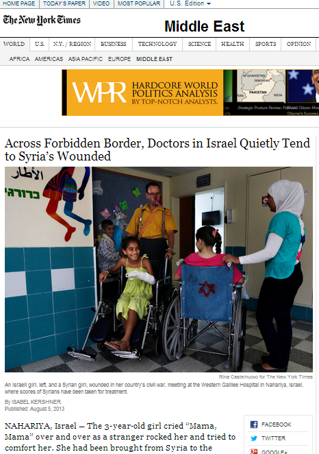 NYT reports on Syrian patients in Israel: BBC still mum