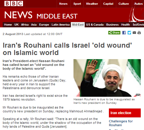 Inaccuracy corrected in one BBC Rouhani article, left standing in another