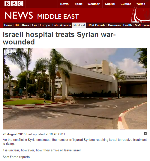 BBC Arabic reports on Syrian patients in Israeli hospitals – but not in Arabic