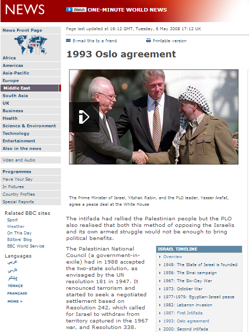BBC backgrounder claims Palestinian leadership renounced terror twenty five years ago