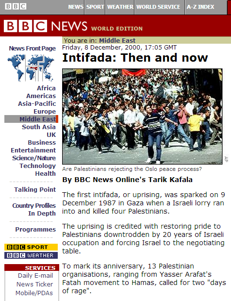 BBC promotion of the myth of a non-violent first Intifada