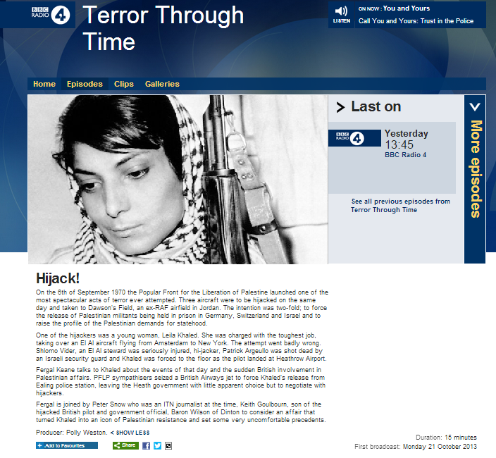 BBC R4 gives a platform to terrorist Leila Khaled
