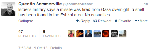 Missiles fired into Israel not news for the BBC