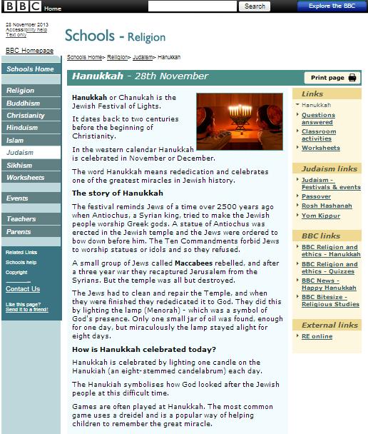 BBC schools Hanukkah