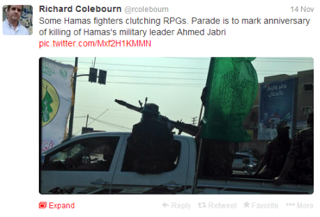 Colebourn tweet Gaza parade 2