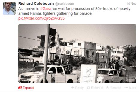 Colebourn tweet Gaza parade