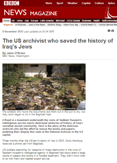 Iraqi Jewish Archive article